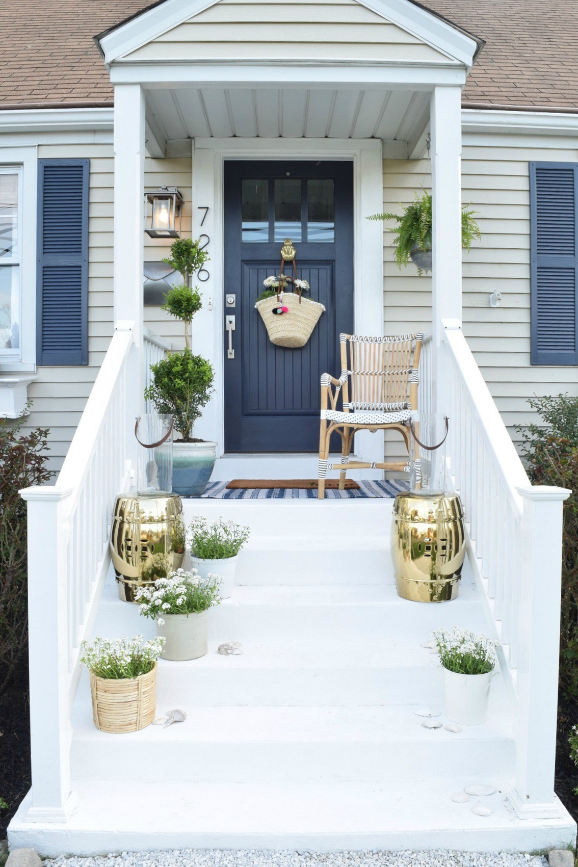 front porch with gold touches