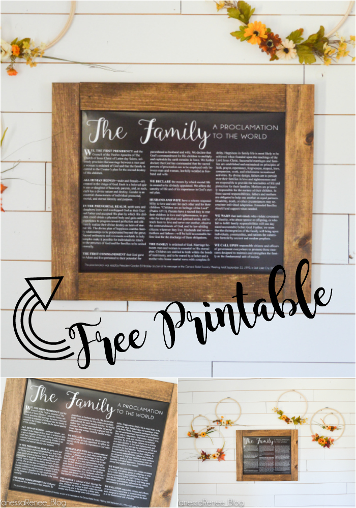 Yes! A FREE horizontal printable of The Family Proclamation. You can get it with a white background too!