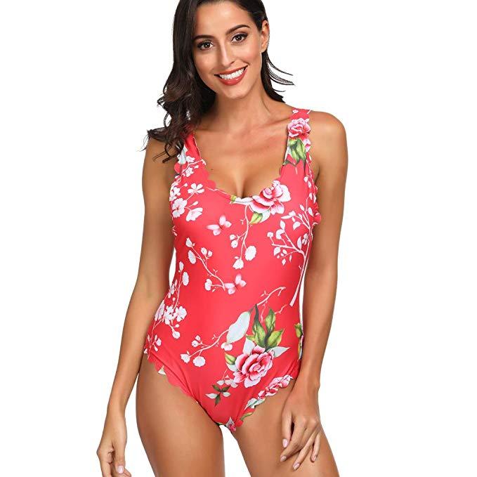Floral Scallop Swim Suit