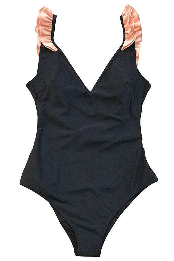Black Ruffle Swim Suit