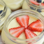 PATRIOTIC DESSERT - red & blue cheesecake in a jar