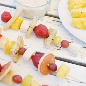 Breakfast Kabobs with Maple Fruit Dip recipe