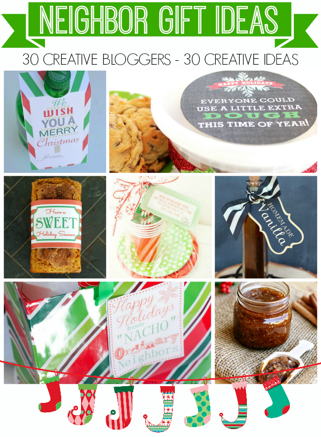 A collage of various food gifts to make for neighbors during the holidays with text overlay for Pinterest
