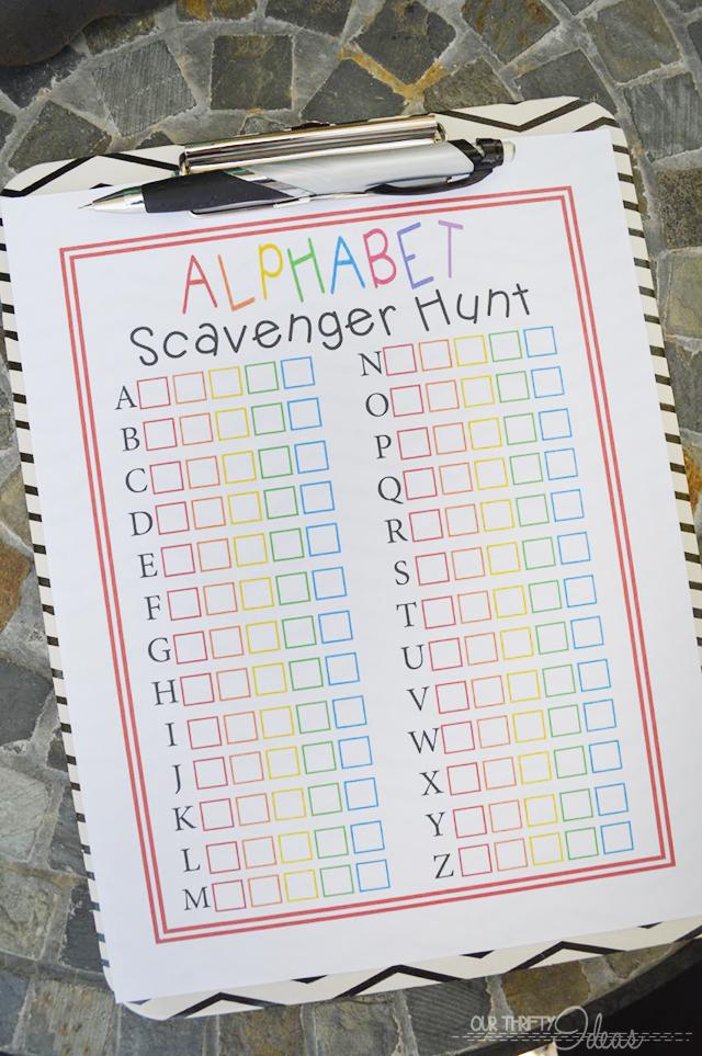 ABC scavenger hunt printable