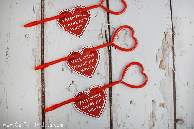 You're Just Write Valentine Printable - Our Thrifty Ideas